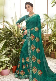 Buy Green Chanderi Silk Saree With Blouse 201613 with blouse online at lowest price from vast collection of sarees at Indianclothstore.com. Net Lehenga, Lehenga Choli, Sari, Chanderi Silk Saree, Silk Sarees, Celebrity Gowns, Neck Deep, Trendy Sarees, Green Saree