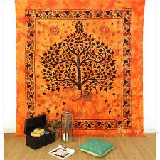 QUEEN ORANGE INDIAN HIPPIE MANDALA ELEPHANT TREE of LIFE TAPESTRY WALL HANGING