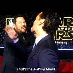 Oscar Issac and the X-Wing salute #StarWars #PoeDameron