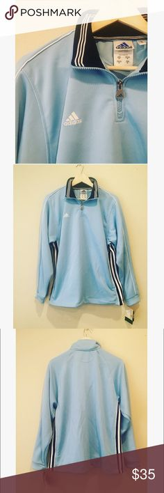 Adidas Women's Track Jacket Adidas women's soccer track jacket. In baby blue. New with tags. Women's size Medium. Adidas Tops Sweatshirts & Hoodies