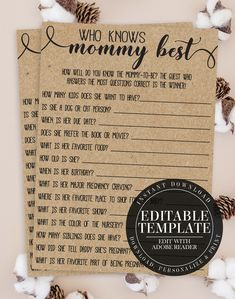 Who Knows Mommy Best, How Well Do You Know Mommy, Baby Shower Game, Rustic Baby Shower