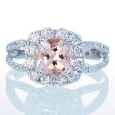 18 Karat White Gold Diamond Halo Split Shank Cushion Cut Morganite Engagement Ring Unique Alternative Engagement Ring. $2,300.00, via Etsy.
