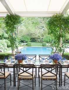 Design Chic: House Tour: Southampton Cottage with this beautiful pool and a table set with blue hydrangeas and blue accessories