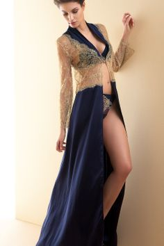 "Lise Charmel ""Recital Bleu"" silk kimono/nightgown...we have 2 of these impossible to find pieces in stock [Medium and Large]...not yet listed on eBay! [Katerina's Closets - eBay Shop]."