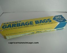 Vintage Baggies Garbage Bags 1960s Kitsch Kitchen Display Yellow Plastic Trash Bags Full Box Photo Prop Vintage Packaging Colgate Palmolive
