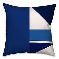 image of Geometric Patchwork Throw Pillow in Blue/White