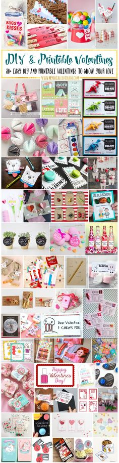 Want some ideas for creative diy and printable valentines that are also inexpensive and easy? Here are a ton of unique ideas-some free, some cheap!  50+ Easy DIY and Printable Valentines http://mysocalledchaos.com/2017/02/50-diy-and-printable-valentines.html