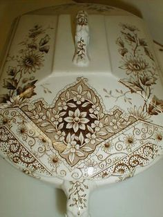 Brown Staffordshire transferware covered vegetable, Aesthetic period, Fairy