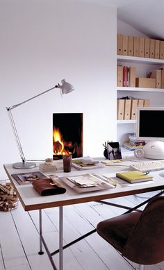 A fireplace in your office