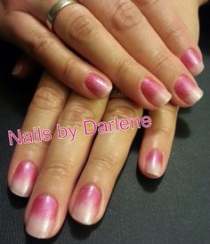 Pink faded Shellac nails - Romantique mix with Haute Pink additive finished with Silver VIP Status