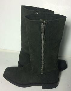 f266687fbbf1c Frye 77281 Heath Outside-Zip Black Suede Leather Motorcycle Boots Women s  Size 7