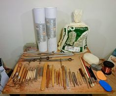 Nick Bibby Sculpture Very many of you have asked about the materials, tools and techniques that I use for my sculptures, so I thought you might like to see a selection of my modelling tools and the most common modelling clays that I use. As you can see, I have quite a selection of different modelling, measuring and smoothing tools, many of which I have made myself. Most of the metal modelling tools I made from titanium, which I like because it is as hard and strong as stainless steel, but…