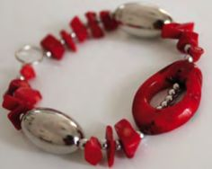 Contemporary 'Red Passion' Bracelet with semi-precious stones by G-Stone