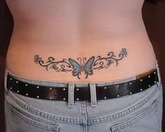 Butterfly Tramp Stamp Lower Back Tattoo Designs Hip Tattoos