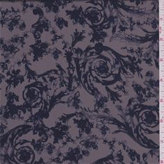 Stylized floral scroll print. Dress weight polyester woven fabric with a smooth and cool hand/feel. Good drape. Suitable for blouses, dresses, skirts and special occasion apparel. Machine washable.Compare to $12.00/yd