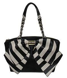 Betsey Johnson Bow N     Betsey Johnson Bow Nanza Striped Satchel  #Dillards  Would love one for my birthday! =)