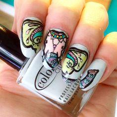 colorful henna elephant nail art