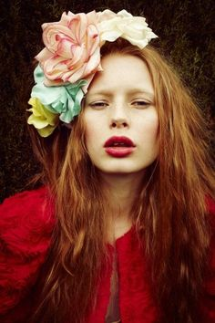 Flowers in the hair.