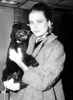 Grace Kelly with her precious pet, Oliver. C.1956