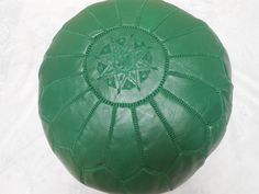 Green Pouf- Genuine leather Moroccan Pouf - Moroccan Ottoman- Moroccan floor Pilow