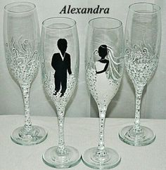 Wedding glasses, dish washer safe.
