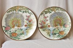 """15"""" BIG Pair of Signed Japanese Satsuma Chargers with Peacock Birds & Flowers"""