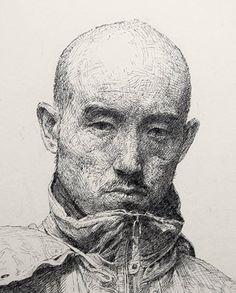 Pen artist Sam Kim | Pen drawing | Self-portrait (2012)