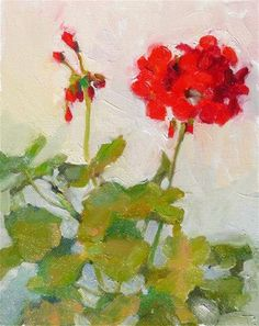 "Daily Paintworks - ""Geranium in April,still life,oil on canvas,12x9,price,$300"" - Original Fine Art for Sale - © Joy Olney"