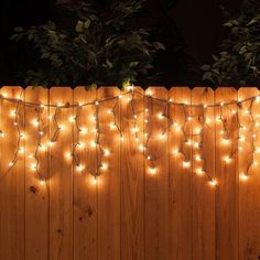 150 Icicle Lights, Clear, Green Wire - Yard Envy - White icicle string lights along the fence – a perfect backyard party decoration! Backyard Birthday, Backyard Bbq, Backyard Parties, Wedding Backyard, Backyard Bonfire Party, Desert Backyard, Fall Bonfire Party, Bonfire Parties, Backyard Planters
