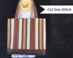 Neutral Brown Striped Canvas Tote Bag w/Faux Leather Bottom - Cut Sew Stitch
