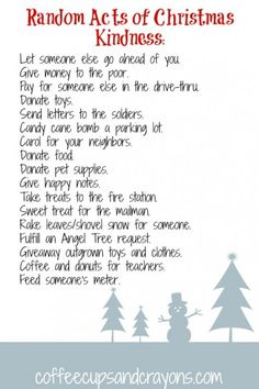List of Random Acts of Christmas Kindness Ideas