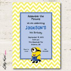 Minion Birthday Invitation Printables by LibbyKateSmiles on Etsy, $1.35