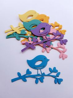 Bird on a Branch Die Cut Out ( Summer / Spring Decoration, Paper Bird Decoration, Card Making Supply, Scrap Booking ) - Witraże - Bird Supplies Spring Decoration, Party Decoration, School Decorations, Valentine Decorations, Paper Decorations, Paper Birds, Paper Flowers, Diy Craft Projects, Crafts For Kids