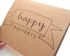 Happy Holidays Greeting Card . Banner Illustration With Calligraphy . Brown Kraft . Single