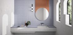 Marcante Testa UdA Ceramica Vogue House of Tiles - Terzo Piano Home Staging, Modern Home Furniture, Round Mirrors, Bathroom Wall, Bathroom Cabinets, Wall Cabinets, Washroom, Bathroom Vanities, Tile Design