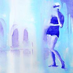"""CYAN-BLUE Watercolour · Maria Bejarano Acrylic and Enamel on Plexiglass Collection: SAY CHEESE! """"A photographer's instruction just before taking a picture, in order to make people smile"""" La cultura Pop, imágenes de los años 50 en los medios de comunicación, separadas de su contexto y combinadas con graffitis, para mediante la ironía crear imágenes optimistas y vitales que hagan sonreír."""