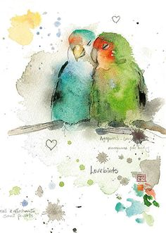 Lovebirds - Bug Art greeting card