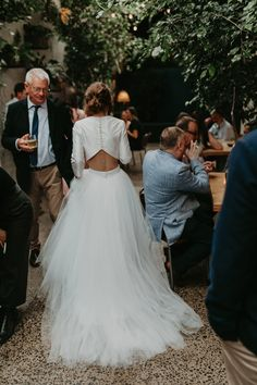 long sleeve two-piece wedding dress with tulle skirt and crop top Tulle Skirt Wedding Dress, Two Piece Wedding Dress, Top Wedding Dresses, Tea Length Wedding Dress, Long Sleeve Wedding, Wedding Gowns, 2 Piece Bridesmaid Dress, Bridesmaid Skirt And Top, Wedding Crop Top