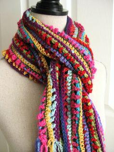Handmade Scarf CrochetedRainbow ColorsMulti Colors by RoseJasmine, $27.00