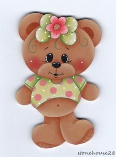 Magnet Ideas For Kids Magnets Ideas Scrapbook Paper Foam Crafts, Arts And Crafts, Paper Crafts, Tole Painting, Fabric Painting, Bear Girl, Cute Clipart, Country Paintings, Cute Teddy Bears