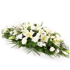 White Lily & Rose Casket Spray A classic all white oriental lily and rose casket spray. Please give ample time when ordering to ensure lilies are in White Lilies, White Roses, White Flowers, Dad Funeral Flowers, Casket Sprays, Oriental Lily, Same Day Flower Delivery, Flowers Online, Floral Arrangements