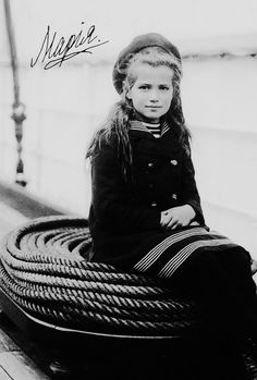 Grand Duchess Maria Nikolaevna (1899 – 1918) of Russia aboard 'The Polar Star,' c. 1907; autographed #Romanov
