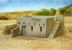 New: Mud-Brick House plastic kit - Warlord Games Bolt Action Game, Mud Hut, Model Supplies, Adobe House, Wargaming Terrain, Modelos 3d, Desert Homes, Earth Homes, Military Diorama