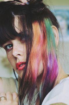 Rainbow hair underneath - love the mix of colours x