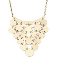 Decree Long Gold-Tone Coin Bib Necklace ($9.99) ❤ liked on Polyvore featuring jewelry, necklaces, bib necklace, gold colored necklace, dangle necklace, disc necklace and goldtone jewelry
