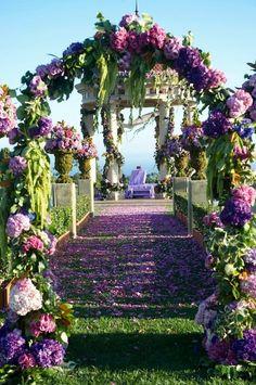 image of Amazing Purple Wedding Ceremony Entrance ♥ Gorgeous Wedding Aisle Decors Wedding Aisles, Wedding Aisle Outdoor, Wedding Aisle Decorations, Mod Wedding, Purple Wedding, Spring Wedding, Garden Wedding, Wedding Flowers, Dream Wedding