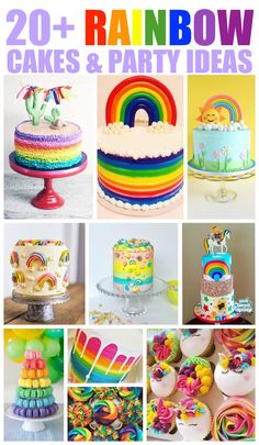 20+ Rainbow Cakes & Party Ideas - click over to RoseBakes.com for tons of beautiful Rainbow cake and party ideas for your Rainbow themed party! #cake #cakes #rainbow #rainbowcakes #stpatricksday