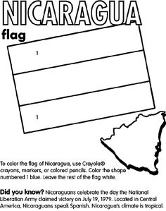 nicaragua country coloring | Nicaragua coloring page