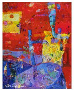 """Beata Wąsowska, """"Czerwony"""" [Red] 90x70, olej na płótnie [oil on canvas] nr kat. 20-29  [r. 2000]"""