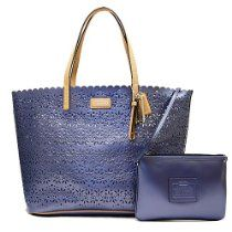 Coach Park Metro Eyelet Leather Tote with Wristlet in Slate Blue - Style 27544